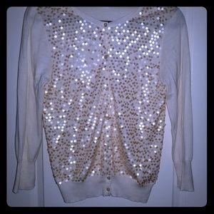 Cream cardigan with iridescent sequins
